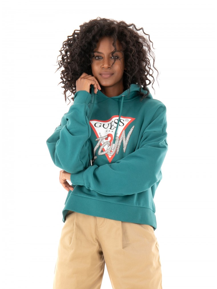 Guess Icon Logo Hoodie-Green