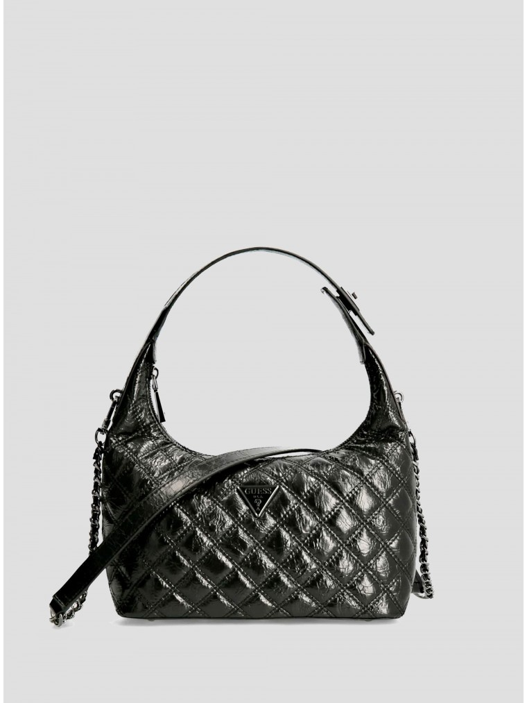 Guess Patent Hobo Bag Cessily-Black