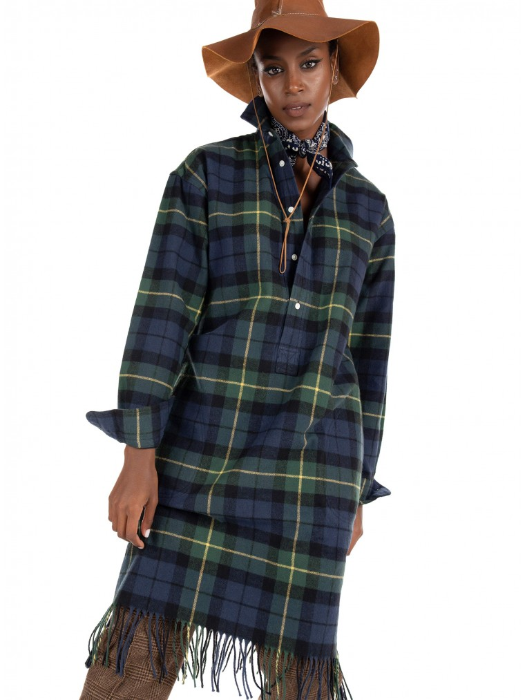 Polo Ralph Lauren Fringe-Trim Shirtdress -Green
