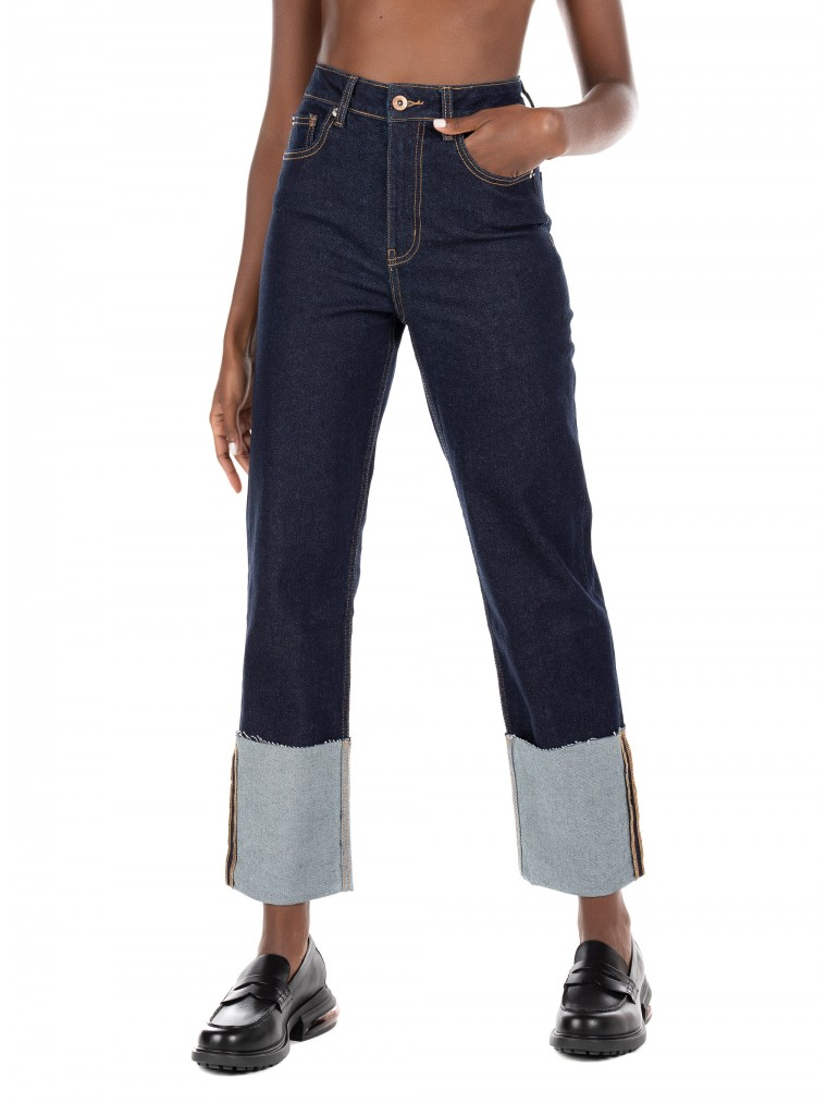 Only Wide Cropped Fold Up High Waist Jeans Megan-Blue