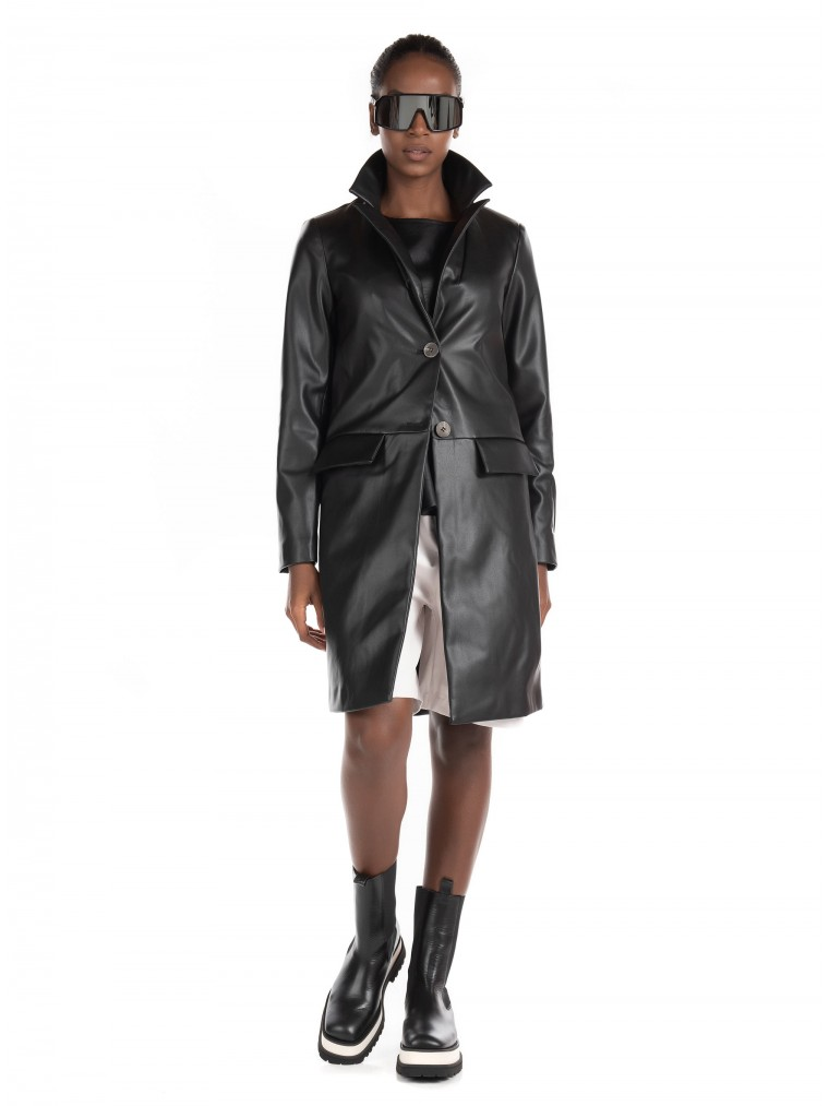Only Faux Leather Coat Sara-Black