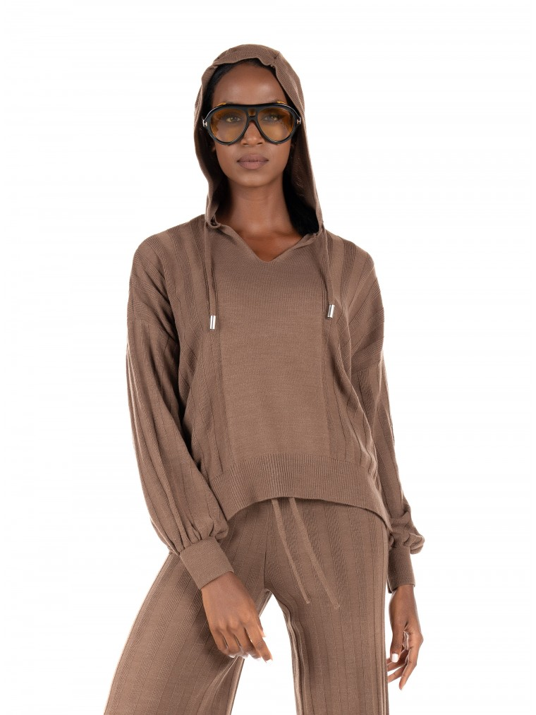 Only Hooded Knit New Tessa-Brown