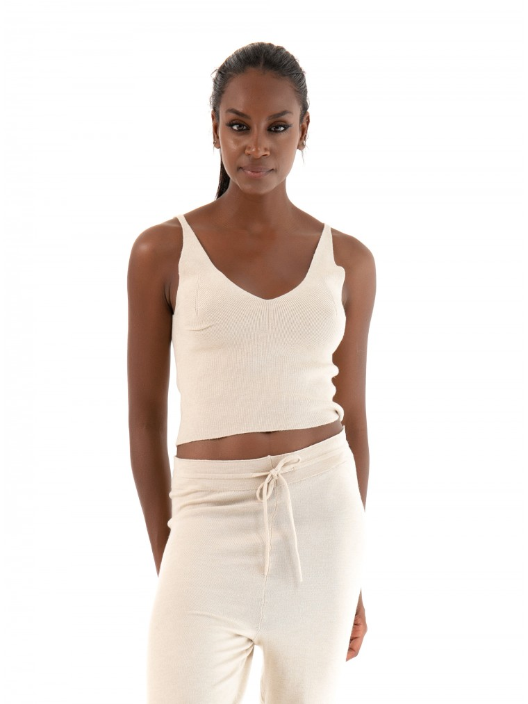 Only Cropped Top Cozy-Light Beige