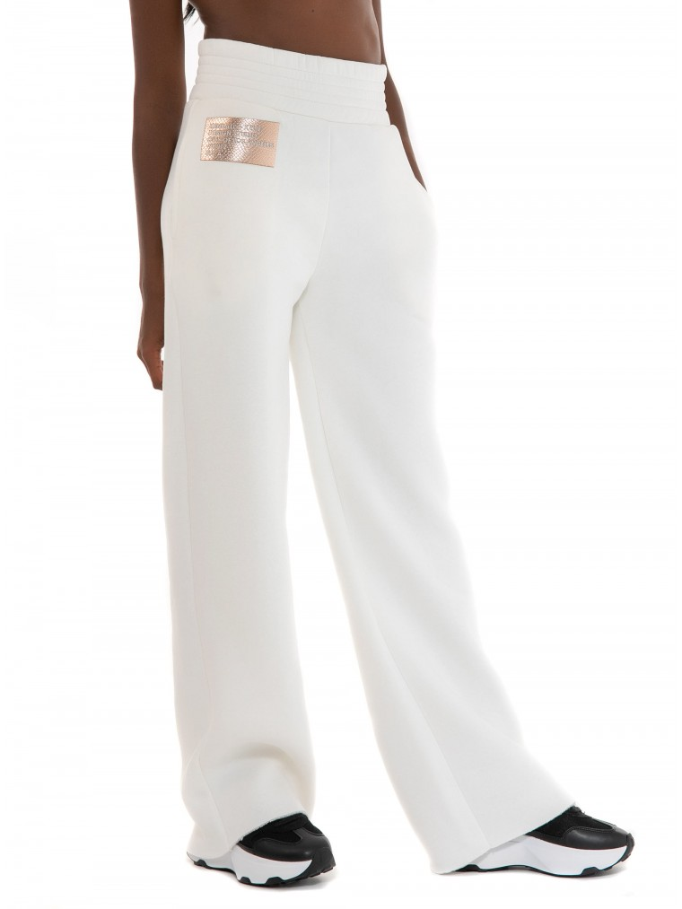 Kendall + Kylie High Waist Flare Sweat Pants-Off White