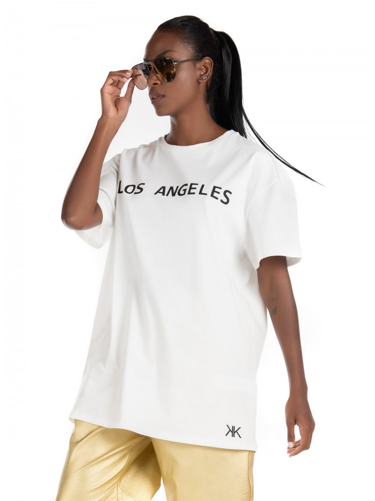 Kendall + Kylie Active Oversized T-Shirt-Off White