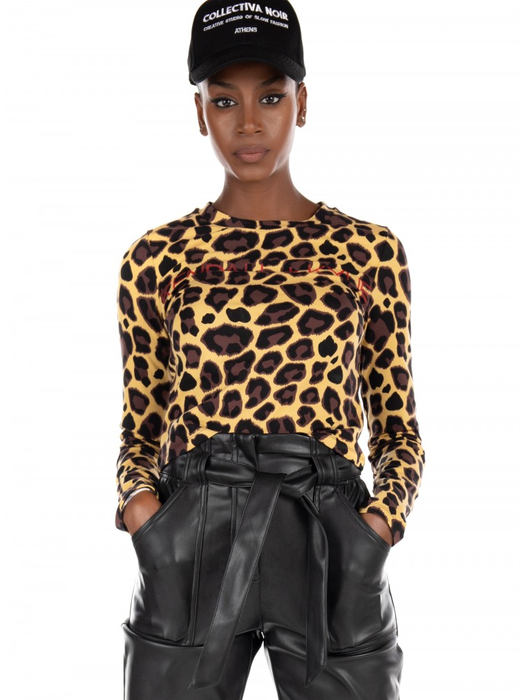 Kendall + Kylie Active Blouse-Animal Print