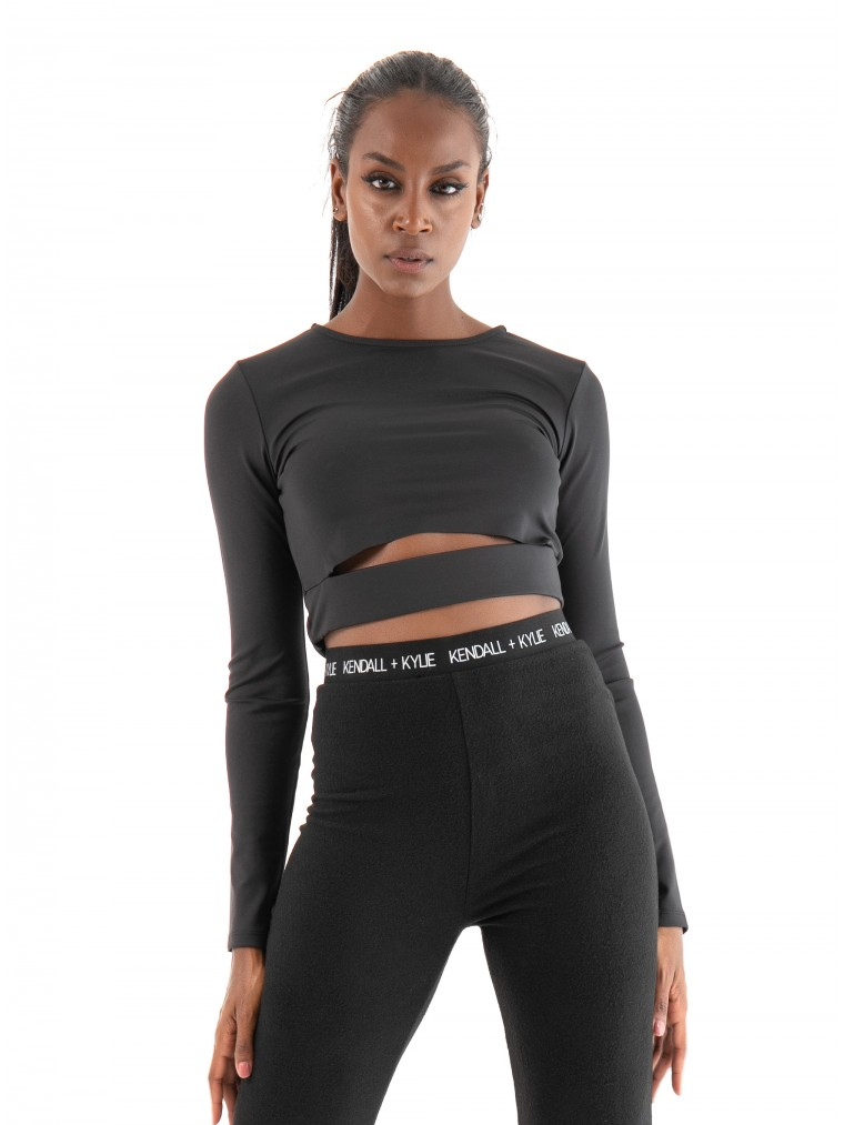 Kendall + Kylie Active Opencut Top-Black