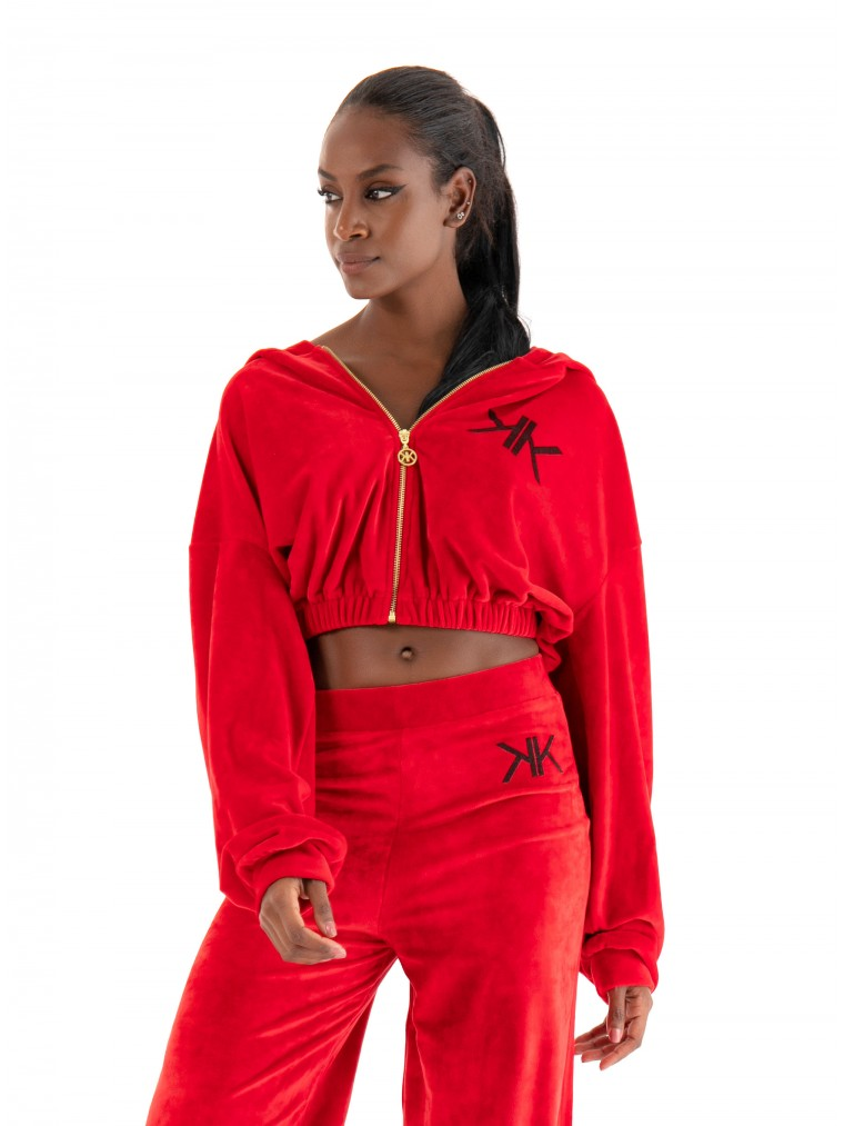 Kendall + Kylie Active Cropped Hoodie-Red