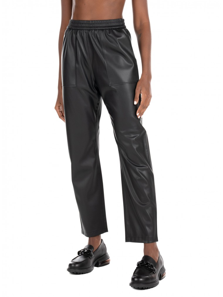 Boss Relaxed Fit In Faux Leather Pants C_Tajogy-Black