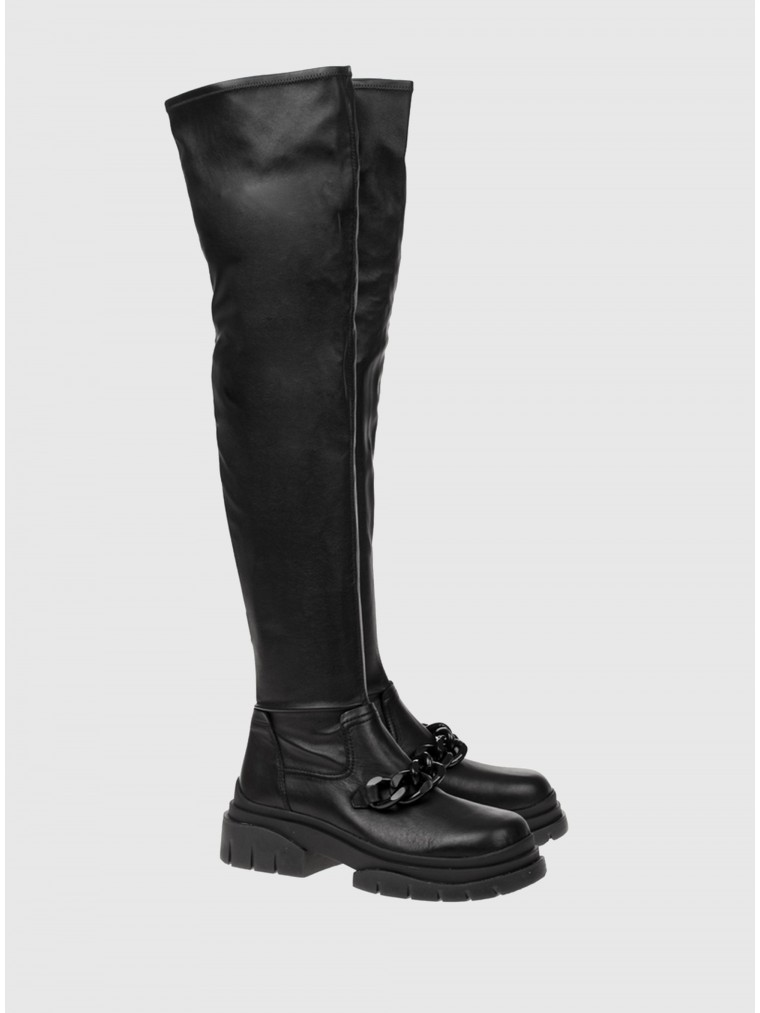 Ash Star Chain High Knee Boots-Black