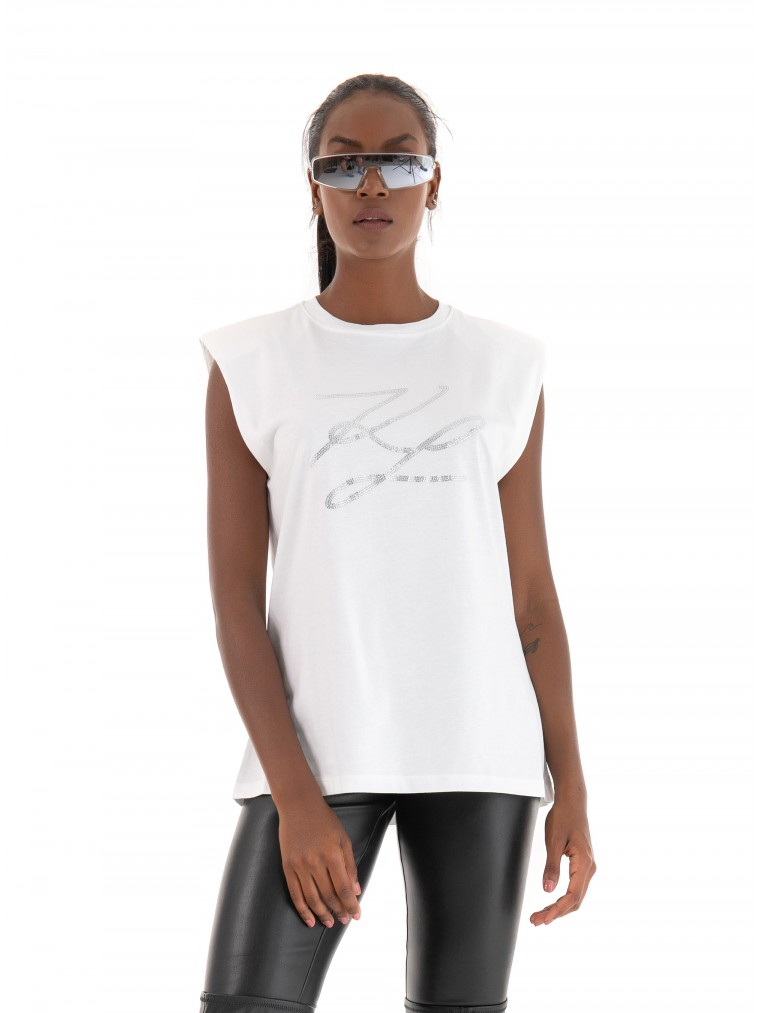 Karl Logo Tank Top With Shoulder Pads-White