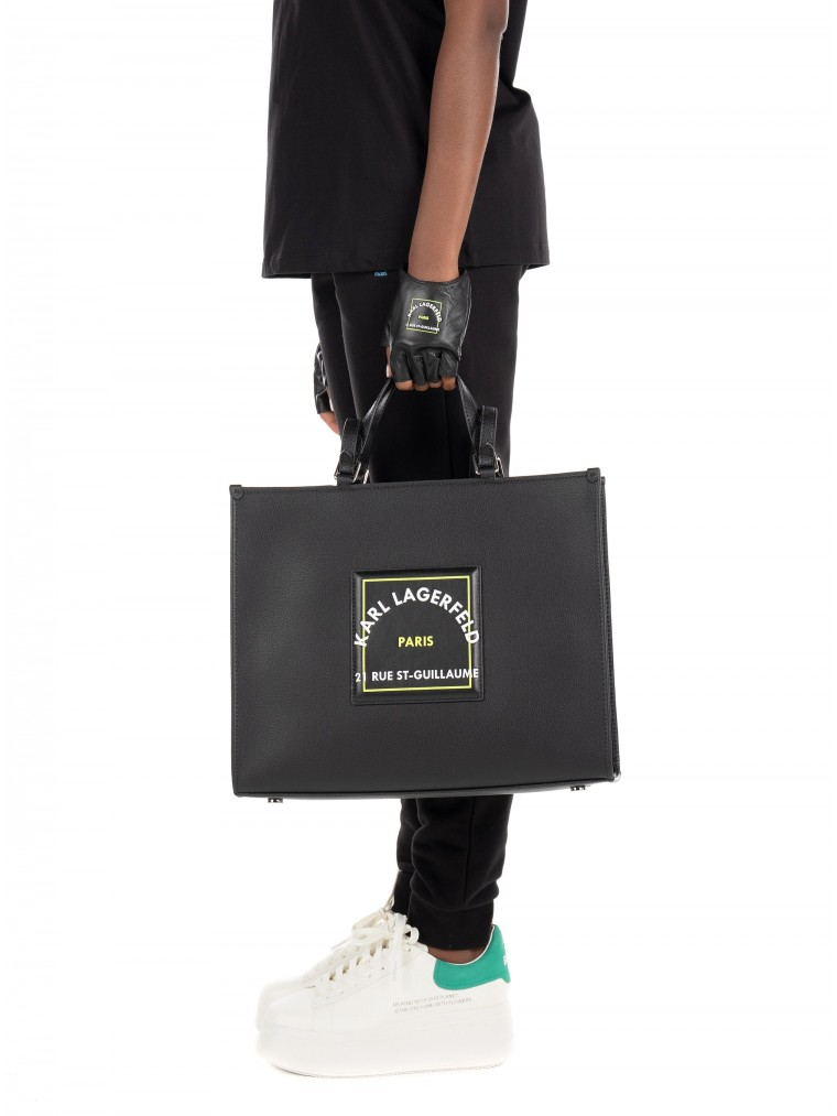 Karl Lagerfeld Rue St-Guillaume Patch Leather Tote-Black