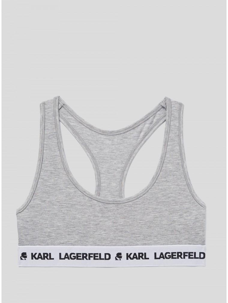 Karl Lagerfeld Logo Sport Bra-Grey Melange