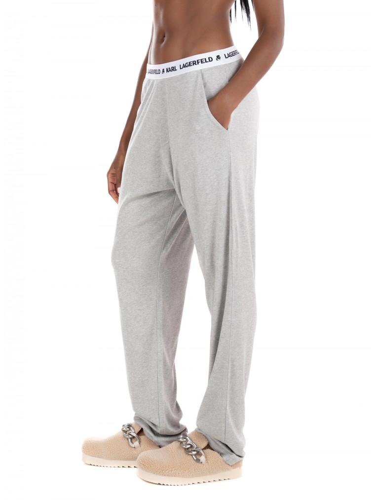 Karl Lagerfeld Unisex Logo Pyjama Pants-Grey Melange