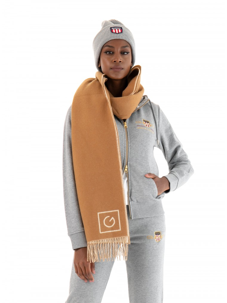 Gant Double-Faced Wool Scarf-Rust