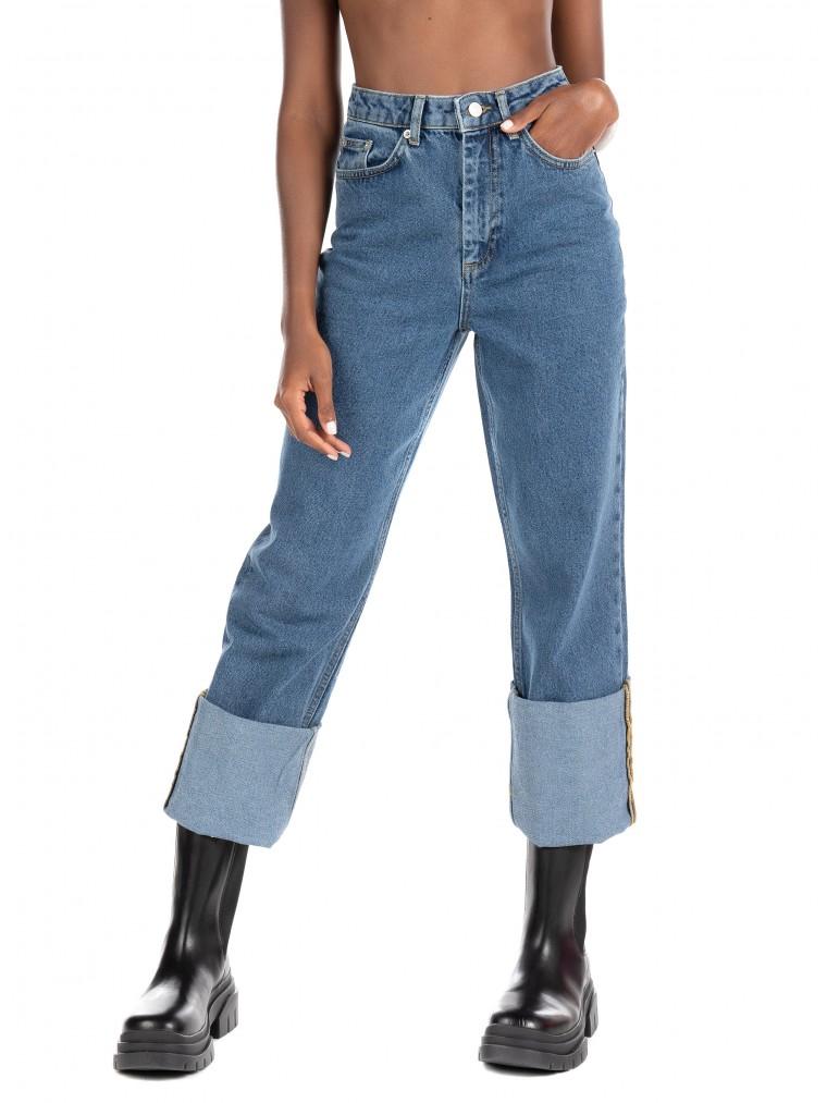 NA-KD Foloded Hem Jeans-Medium Aged Denim