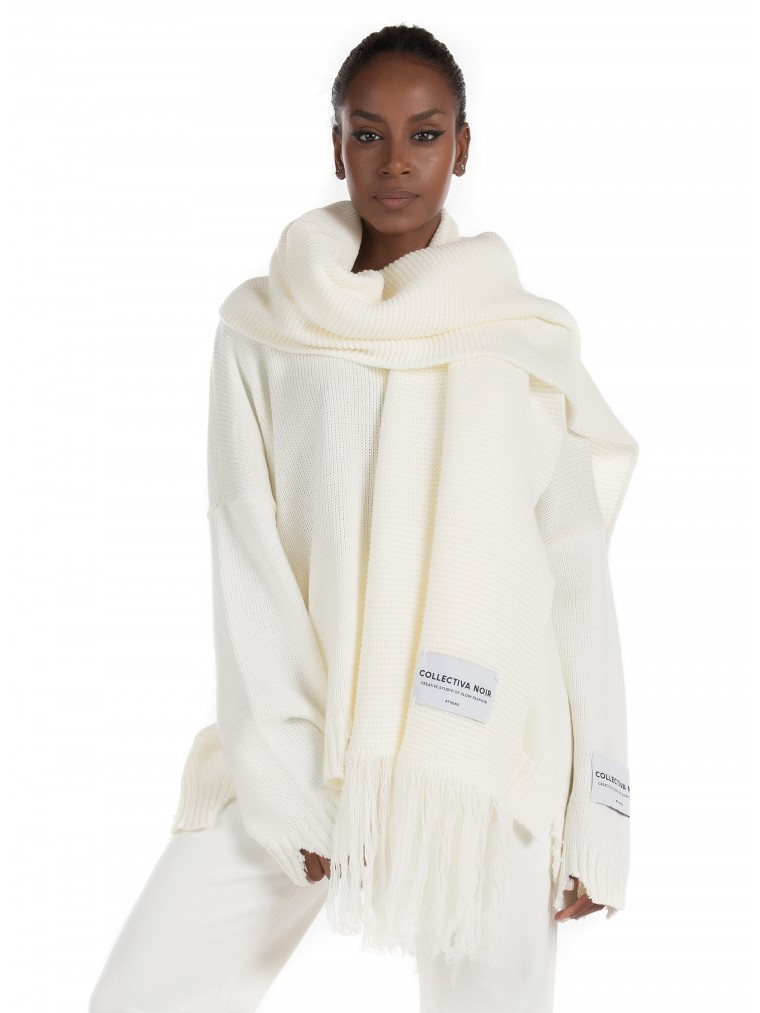 Collectina Noir Oversized Scarf-Off White